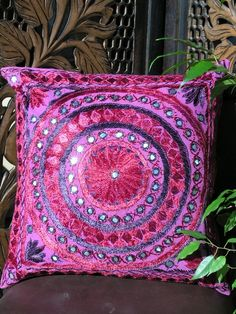 Indian mirror cushion cover in pink