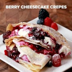 Servings: 2INGREDIENTS2 crepes (above)1 cup raspberries1 cup blueberries1 cup blackberries2 tablespoons lemon juice¼ cup sugar¼ cup powdered sugar1 8-ounce block cream cheese, softenedPowdered sugar to garnishPREPARATIONIn a pot over medium heat, combine all the berries with the lemon juice and the sugar, stirring until the mixture comes to a boil. Cook for about 2 minutes, then remove from heat and cool completely.Mix the cream cheese with the powdered sugar until smooth.Spread half of the…