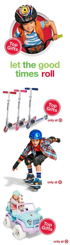 Looking for a fresh spin on Christmas gifts for young thrill-seekers? Give the ultimate gift of wheels — bikes, blades, scooters and more. Each comes in a variety of styles, colors and sizes, plus some even feature their favorite characters. The only question is, how will you successfully wrap this gift? The answer—a big red bow will do the trick!