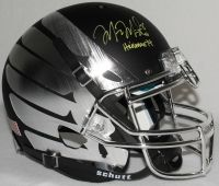 "MARCUS MARIOTA Signed LE Oregon Full-Size Authentic Pro-Line Custom Matte Black & Chrome Wings Helmet Inscribed ""Heisman '14"" STEINER COA LE 14 - Game Day Legends"