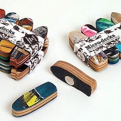 Micro-deck Magnet Packs!  Made from real broken skateboards recycled in the USA, these magnets are one of a kind, a perfect souvenir for those who love design and skateboard art.  Designed and manufactured by deckstool