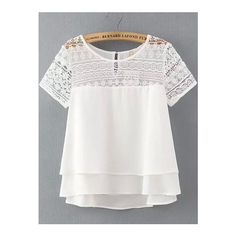 SheIn(sheinside) White Lace Short Sleeve Loose Chiffon Blouse ($18) ❤ liked on Polyvore