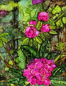 Alcohol Ink Painting - Rhodies by Vicki Baun Barry