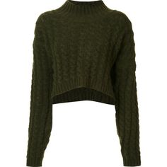 Vivienne Westwood Anglomania cropped jumper ($810) ❤ liked on Polyvore featuring tops, sweaters, shirts, crop tops, green, green top, shirt tops, jumpers sweaters, cropped jumper and cropped sweater