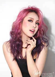 Park Hye Min ulzzang ulzzang girl kfashion fashion make up ombre ombre hair pink purple Pony Makeup, Hair Makeup, Ombre Hair, Purple Hair, Pink Purple, Multicolored Hair, Corte Y Color, Crazy Hair, Trendy Hairstyles