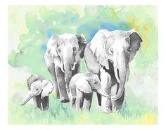 Elephant watercolor print. Four elephants. Elephant illustration, Teal, blue and gray