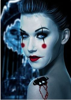 evil female clown makeup - Google Search