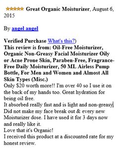 """""""Temp By Cazbe..""""  Organic Oil Free Moisturizer  Non-greasy moisturizer  • soft silky texture absorbs quickly; Won't irritate sensitive skin or clog pores; Provides deep hydration without aggravating skin .  http://www.amazon.com/dp/B00YUCFNG0 http://store.temptbycazbe.com/products/oil-free-moisturizer"""