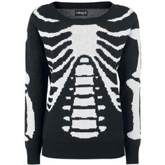 Skeleton Knitted Pullover ($26) ❤ liked on Polyvore featuring tops, sweaters, skeleton jumper, skeleton sweater, knit top, knit pullover and knit sweater