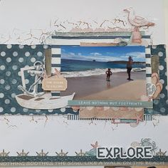 Hi all, There is nothing I love more than beach layouts and being that we live in beautiful Western Australia and surrounded by coast line I. Scrapbook Journal, Travel Scrapbook, Scrapbook Cards, Beach Scrapbook Layouts, Scrapbooking Layouts, Anchor Paper, Wave Stencil, Fish Pool, Smash Book Pages