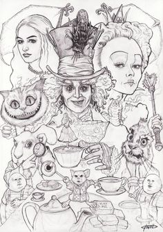 Check out the current contest from and submit your own tribute to Alice! [link] Alice in Wonderland Alice In Wonderland Tattoo Sleeve, Alice In Wonderland Artwork, Dark Alice In Wonderland, Dark Art Drawings, Art Drawings Sketches, Disney Drawings, Cool Drawings, Drawing Disney, Disney Kunst
