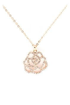 Crystal Rosa Pendant in Gold
