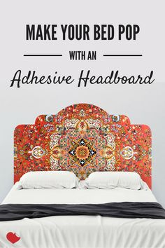 Here's a tip: Use a removable headboard wall decal to dress up your boring bed frame. It's removable, reusable and perfect for renters. Shop this style and more at wallsneedlove.com