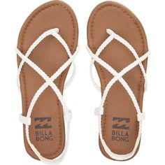 Billabong Women's Crossing Over Sandals ($30) ❤ liked on Polyvore featuring shoes, sandals, flats, white, footwear, white strap sandals, strap sandals, white strappy shoes, woven shoes and white cross shoes
