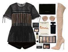 """CAS"" by mariimontero ❤ liked on Polyvore featuring Andrew Gn, Casadei, self-portrait, Givenchy, Christian Dior, Narciso Rodriguez, NARS Cosmetics, H&M, Korres and Ginette NY"
