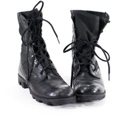Vintage 90s Military Boots Black Leather Combat Boots Womens Size 8.5 (1.705 CZK) ❤ liked on Polyvore featuring shoes, boots, black boots, lace up combat boots, combat boots, flat black boots and black military boots