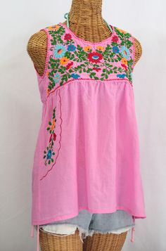 """""""La Pasea"""" Embroidered Mexican Style Peasant Top -Bubblegum Pink + Fiesta"""