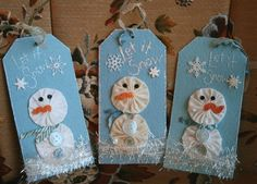 "Fun use of yo-yos!  I love making tags cuz they are fast and more ""instant gratification"" than many projects.  And these snowmen are too cute!   #YoYo  #SuffolkPuffs"