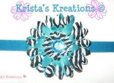 #SZ05: Mini Teal Zebra Gerbera; Teal Rhinestone; Teal Headband https://www.facebook.com/KristasKreationsEtc
