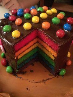 Tasty rainbow cake with m&m