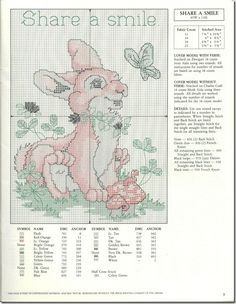 Bunny in cross stitch, site with lots of cross stitch charts