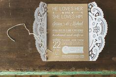 Lacy Brown & White Invitations