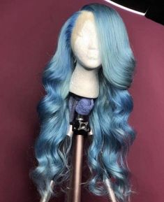 Ombre Blue Brazilian Wave Lace Front Wigs With Baby Hair Full Lace Wigs Pre Plucked Hairline - Best Hairstyles Ideas Baddie Hairstyles, Bandana Hairstyles, My Hairstyle, Pretty Hairstyles, Colored Weave Hairstyles, Bridal Hairstyle, Hairstyle Ideas, Lace Front Wigs, Lace Wigs