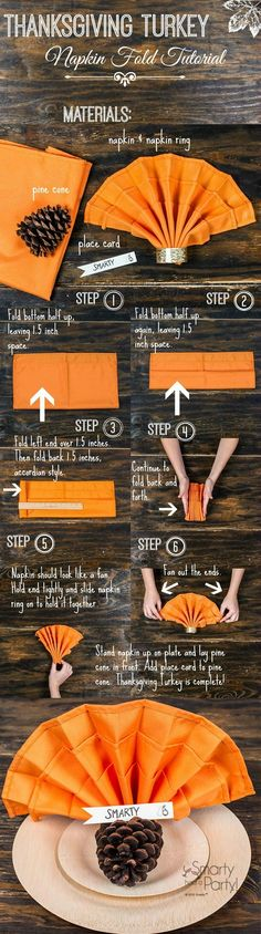 Learn how to fold this napkin with the Thanksgiving Turkey Napkin Fold Tutorial #SmartyHadAParty