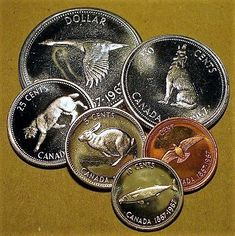 For day 67 I thought I would use coins minted in In 1967 Canada celebrated it's Centennial and commissioned Canadian wildlife artist Alex Colville to design the reverse of Canada's coinage for that year.