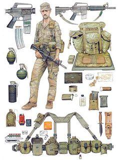 US infantry equipment, Vietnam era.