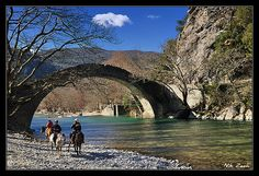 Old stone bridge, Voidomatis river, Epirus, Greece Places In Greece, Old Stone, Planet Earth, Rafting, Homeland, View Image, Places To Visit, Greek, River