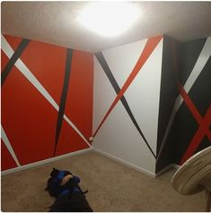 Creative DIY Wall Art Ideas on a Budget – Geometric Boys Bedroom Paint, Kids Room Paint, Bedroom Red, Bedroom Decor, Kids Rooms, Bedroom Loft, Geometric Wall Paint, Geometric Art, Bedroom Wall Designs