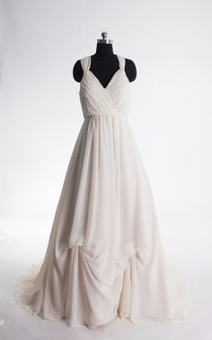 Spaghetti strapless simple wedding dress