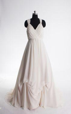 Spaghetti strapless simple wedding dress
