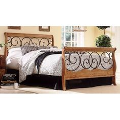 Fashion Bed Group Dunhill Sleigh Bed from wayfair. Mix metal and wood.