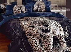 Feral Leopard Printing 4-Piece Cotton Duvet Cover Sets