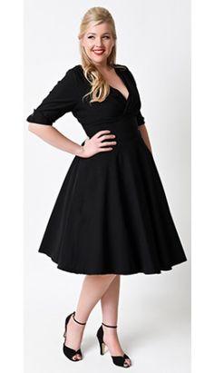 Unique Vintage Plus Size 1950s Style Black Delores Sleeved Swing Dress