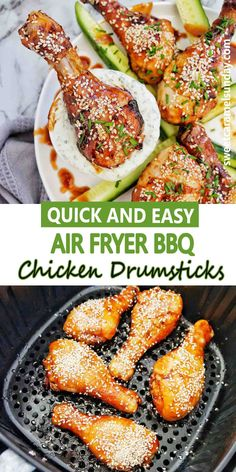Easy Air Fryer BBQ Chicken Drumsticks require no breading and have a simple marinade! These sticky chicken legs are succulent and perfect any night of the week! #chickendinner #chickendrumsticks #cheapdinnerrecipes @sweetcaramelsunday