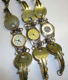 Recycled Vintage Brass Keys and Recycled Watch Bracelet, Eco Friendly Jewellery £18.00