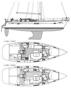 BENETEAU 423   Hull Type:Fin w/bulb & spade rudderRig Type:Masthead Sloop LOA:43.14' / 13.15mLWL:38.55' / 11.75m Beam:12.93' / 3.94mListed SA:860 ft2 / 79.89 m2 Draft (max.)5.58' / 1.70mDraft (min.) Disp.19500 lbs./ 8845 kgs.Ballast:5836 lbs. / 2647 kgs. SA/Disp.:19.07Bal./Disp.:29.93%Disp./Len.:151.95 Designer:Groupe Finot Builder:Beneteau Construct.:FGBal. type: First Built:2002Last Built:# Built: AUXILIARY POWER (orig. ...