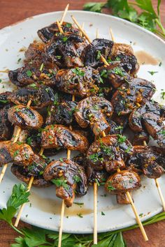 Balsamic Garlic Grilled Mushroom Skewers More