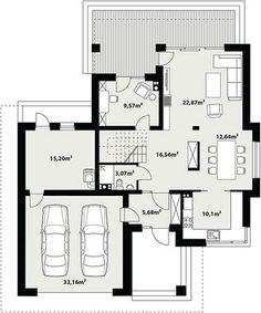 Projekt domu Korso 2 175,94 m² - koszt budowy - EXTRADOM Sims House Plans, Small House Plans, House Floor Plans, Minimal House Design, Minimal Home, Modern Family House, 2 Storey House Design, Beautiful House Plans, Building A House