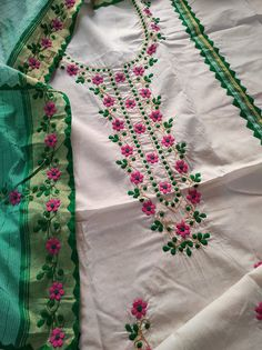Embroidery Suits Punjabi, Embroidery On Kurtis, Embroidery Neck Designs, Embroidery Suits Design, Embroidery Art, Punjabi Suits Designer Boutique, Indian Designer Outfits, Indian Outfits, Churidhar Neck Designs