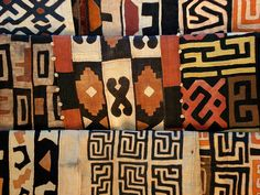 A small sample of the many designs for African kuba cloth.