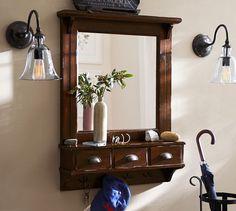 Montaje en comparación Puerta de entrada ¿Organizador Mirror - Rústico mancha de caoba | Pottery Barn