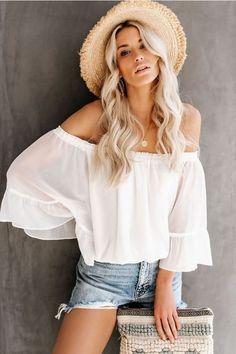 Women Shirts Harajuku Tops Korean White Blouse Woman Clothes 2020 Fashion Womens Clothing Plus Size Top Vintage Flare Sleeve 4000893876786 1166 Tops Vintage, Sheer Chiffon, Blouses For Women, Ideias Fashion, Womens Fashion, Clothes, Summer Outfits, Hawaii Outfits, Fall Outfits