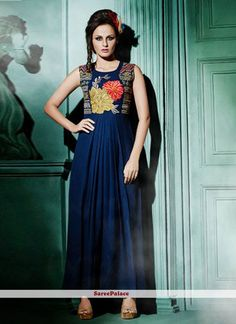 Dashing Navy Blue Resham Work Designer Kurti