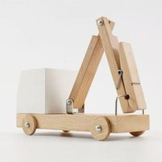 """Great series of wooden toys that incorporate household items."""