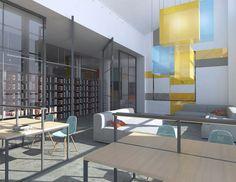 Biblioteka szkolna   School library - Marta Czeczko - architektura wnętrz   interior design Divider, Interiors, Room, Furniture, Home Decor, Bedroom, Decoration Home, Room Decor, Rooms