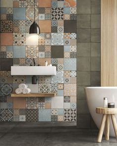 Ceramic wall tiles made in Italy Bad Inspiration, Bathroom Inspiration, Best Bathroom Tiles, Bathrooms, Bathroom Modern, Bathroom Designs, Patchwork Tiles, Timber Fencing, Italian Tiles